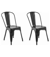 conjunto 02 cadeiras iron preta rivatti