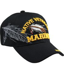 u.s military marine native veteran hat baseball cap velcro