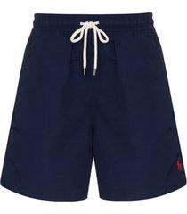 polo ralph lauren short de natação com logo bordado - azul