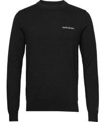 instit chest logo cn sweater gebreide trui met ronde kraag zwart calvin klein jeans