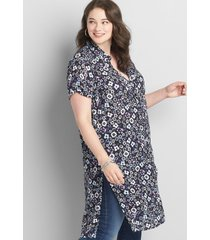 lane bryant women's button-front shirt maxi overpiece 30/32 multi ditsy floral