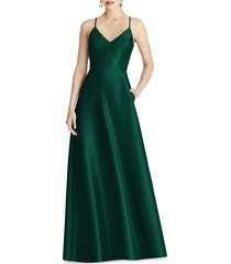 women's alfred sung crossback satin twill a-line gown, size 6 - green