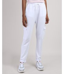 calça de moletom feminina cargo cintura alta off white