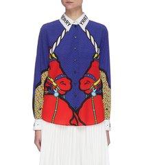 'juliette mulberry' logo accent unicorn graphic print silk shirt