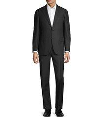 slim-fit textured wool suit