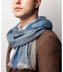 sciarpa da uomo, maalbi, seta lino blu, primavera estate | lanieri