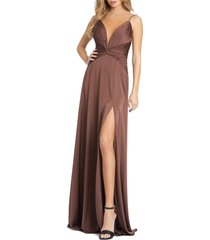 women's mac duggal ruched satin column gown, size 0 - brown