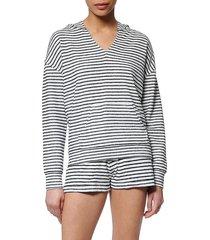 marc new york performance women's striped v-neck hoodie - midnight white - size l