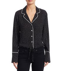 polka dot crop pajama-style top