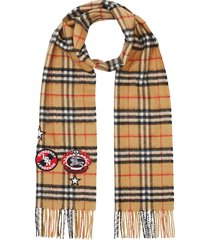 burberry vintage check badge cashmere scarf - brown