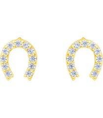 orecchini a lobo ferro di cavallo in oro giallo e zirconi per donna