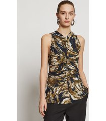 proenza schouler feather print cinched waist top fatigue/black/tan feather 4