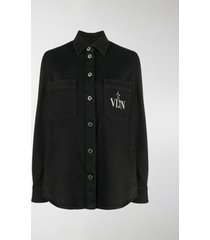 valentino vltn star print denim shirt