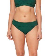 women's bleu by rod beattie walk the line foldover hipster bikini bottoms, size 14 - green