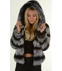 chinchilla grey rex rabbit fur jacket hoodie winter coat luxury fur outwear