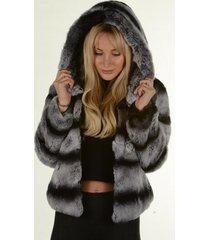 chinchilla grey rex rabbit fur jacket hoodie winter coat luxury fur outwear