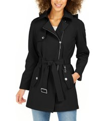 calvin klein asymmetrical belted hooded raincoat