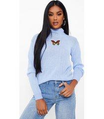 geborduurde trui met vlindermouwen, light blue