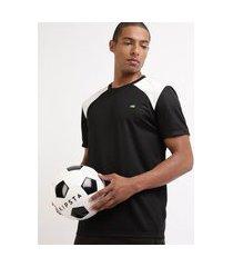 camiseta masculina esporte ace futebol com recortes manga curta gola careca preto