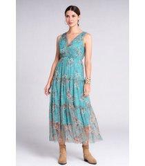 vestido largo floral caída con semitransparencias