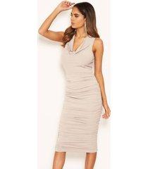 ax paris women's cowl neck ruched side bodycon midi dress