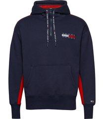 tjm back graphic zip hoodie trui blauw tommy jeans