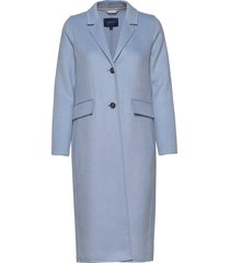 d1. double faced coat wollen jas lange jas blauw gant
