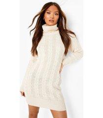 grof gebreide sweatshirt jurk met col, cream