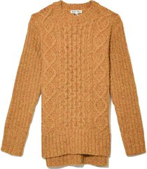 button side aran sweater in honey mustard