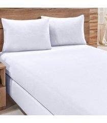 jogo de cama city branco liso solteiro 02 peças - malha 100% algodão.