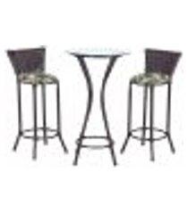 conjunto bistrô mesa alta e 2 banquetas moscou pedra ferro a33 para cozinha edicula bar varanda