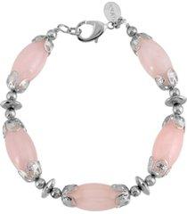 2028 silver-tone semi precious bead bracelet