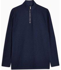 mens navy texture 1/4 zip sweatshirt