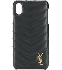 saint laurent iphone xs max quilted case - black