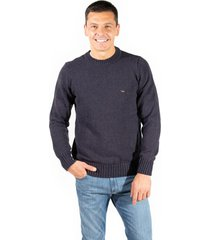 sweater azul  pato pampa base liso c/ pitucones puelen