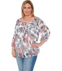 white mark plus size desiree chiffon lined blouse