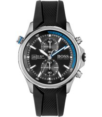 hugo boss men's chronograph globetrotter black silicone strap watch 46mm