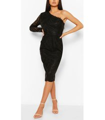 bodycon-midi-jurk met enkele mouw en franjes en mesh, zwart