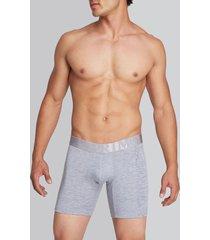 boxer medio estampado lateral lycra - algodón gris m