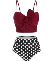 polka dot tied underwire tummy control bikini swimwear