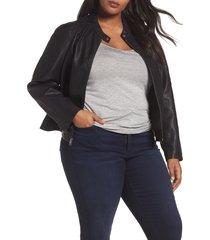 plus size women's levis faux leather moto jacket, size 2x - black