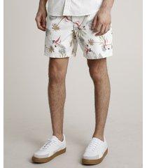 short de sarja masculino estampado de folhagens com bolsos off white