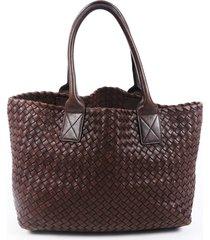 bottega veneta intrecciato cabat brown leather tote bag brown sz: m