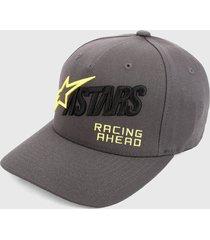 gorra gris-negro-amarillo alpinestars title cap