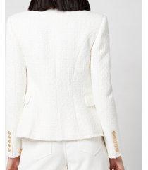 balmain women's 6 button tweed jacket - blanc - fr 40/uk 12