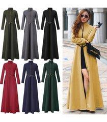 fashion autumn winter goddess slim zipper long parka coat women warm wool cape s