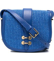 alberta ferretti woven saddle shoulder bag - blue