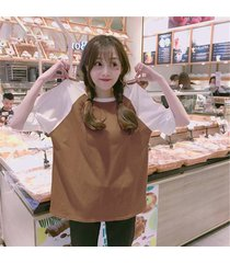 costura de moda flojo estilo de color mujeres camisetas de manga corta hip hop tops