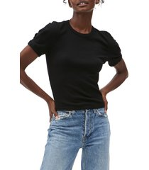 michael stars mindy puff sleeve crop top, size x-large in black at nordstrom