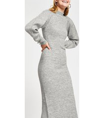 river island womens grey structured volume sleeve knit dress
